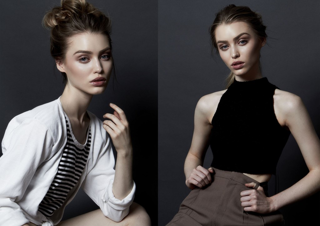 Same model in split image, seated, one in cream top and other black top and brown pant
