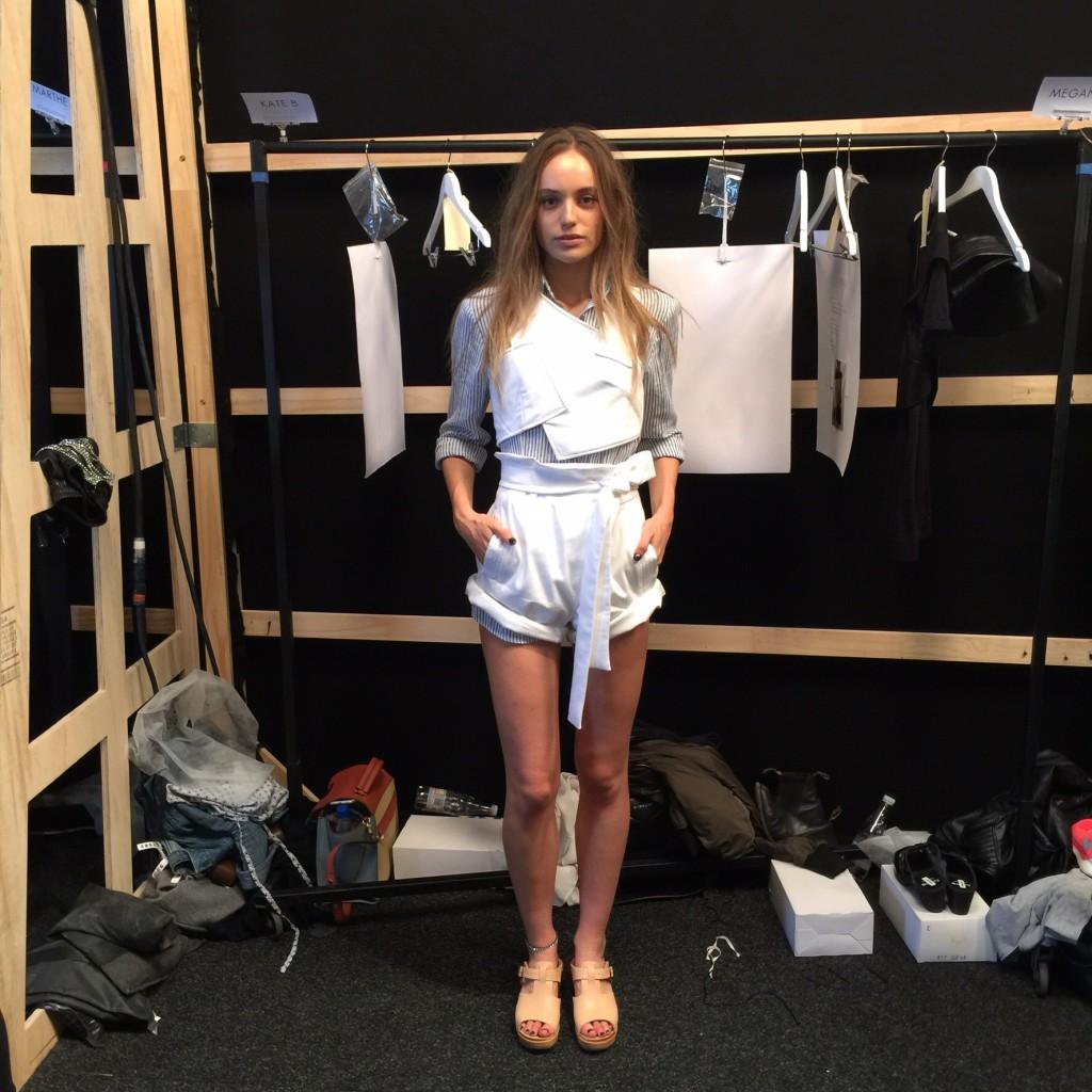 Model waiting backstage at Watson X Watson