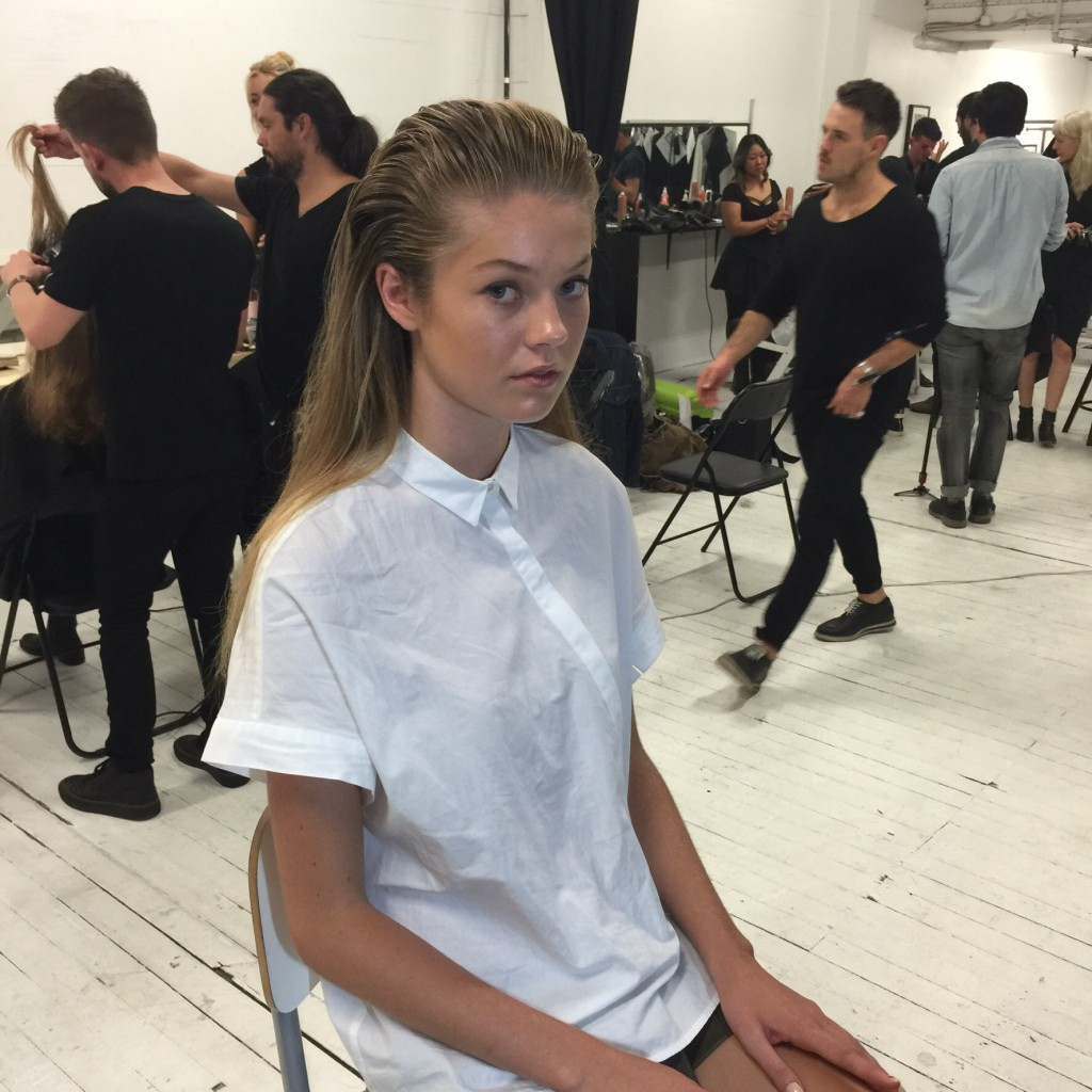 Model backstage at Serpent and the Swan
