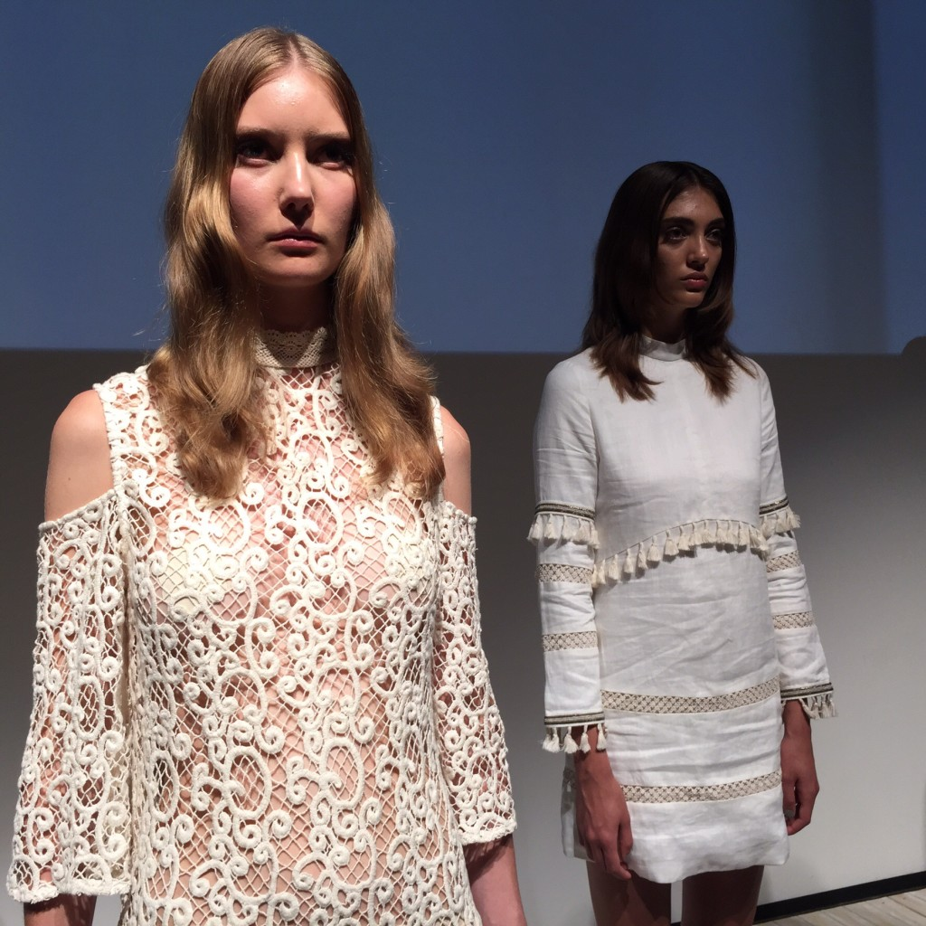 Two models standing in the Stevie May runway installation