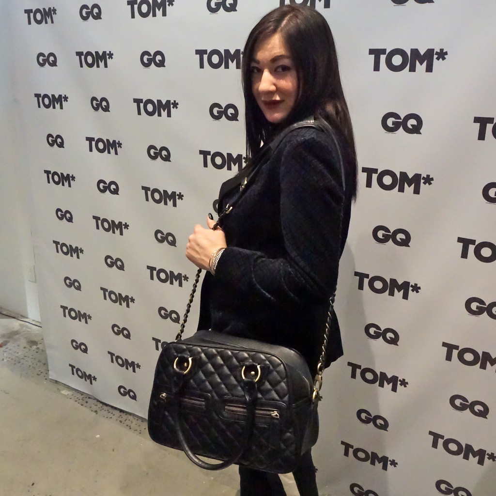 The Lady like Leopard in front of the media board at Toronto Men's Fashion Week: At the GQ + TOM* Press Party