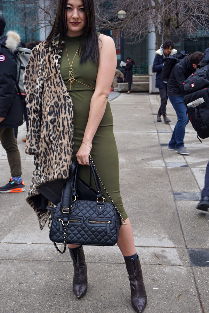 The Lady like Leopard walking on her way to another fashion show in Canada