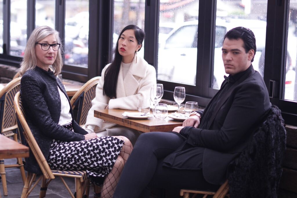 Jade Odermatt, Warren Pasi and Cissy Zhang sitting at Pink Salt, Double Bay after the Label Ministry interview
