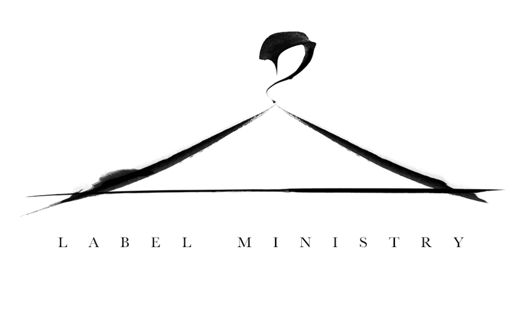 Coat Hanger Logo done in black on white in the style of chinese calligraphy and paint brushing style with the words Label Ministry placed in capital letters below it.