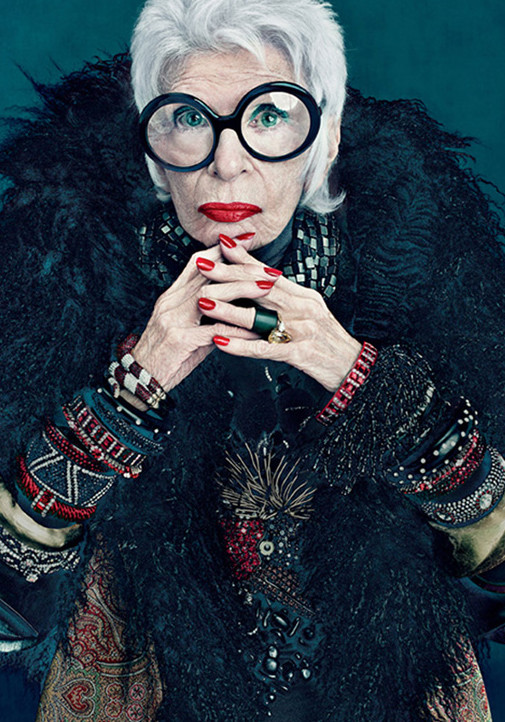 Picture of the American fashion icon and style influencer, Iris Apfel.