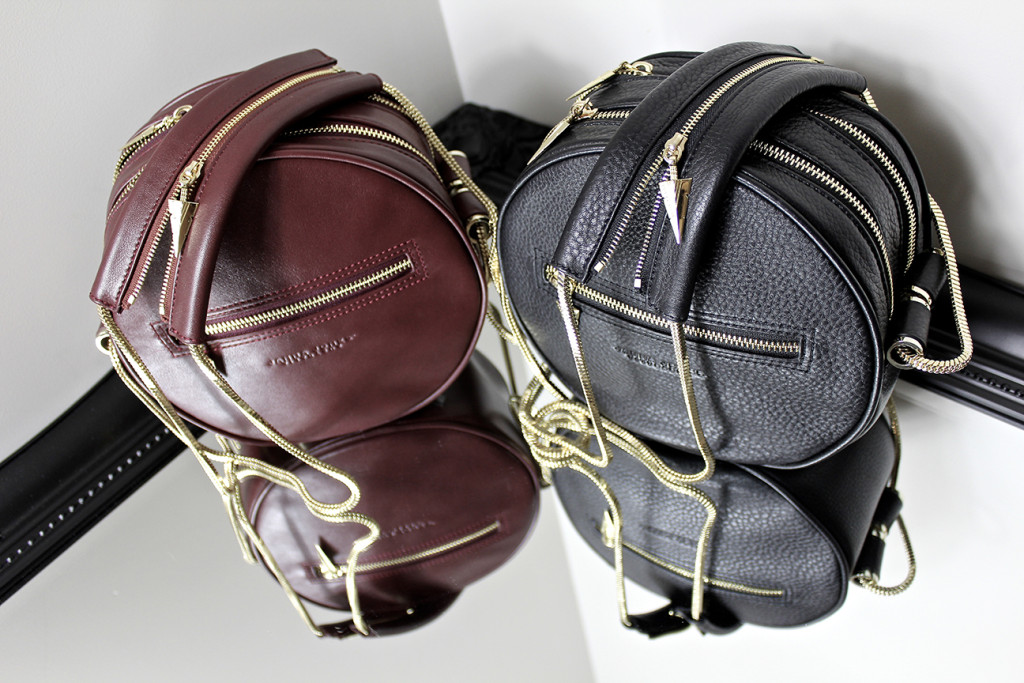 Handbags, leather in black and burgundy designed by Janna Jones of Perth Western Australia.