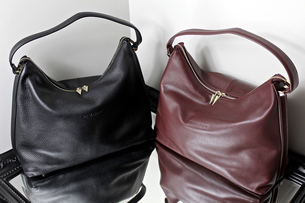 Handbags Leather In Black And Burgundy Designed By Janna Jones Of Perth Western Australia