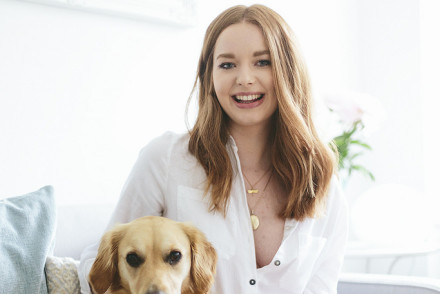 Charlotte Elizabeth, the British handbag designer and her beautiful golden retriever.