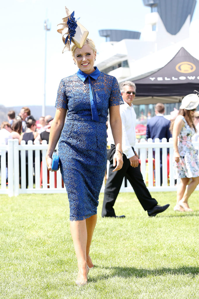 February 2016 | Hobart Cup | Fashion on the Field | Alice Bright standing in a royal blue lace hand made dress with Gold and blue hat. Winner | Alice Bright | Photography | Sam Rosewarne | Newsphotos