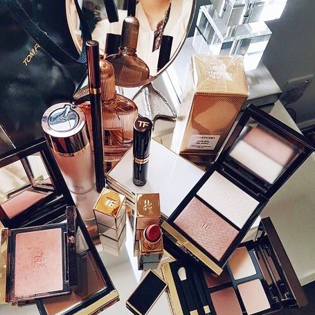 Picture of lots of different professional makeup products used by makeup artist Alex Perrin.
