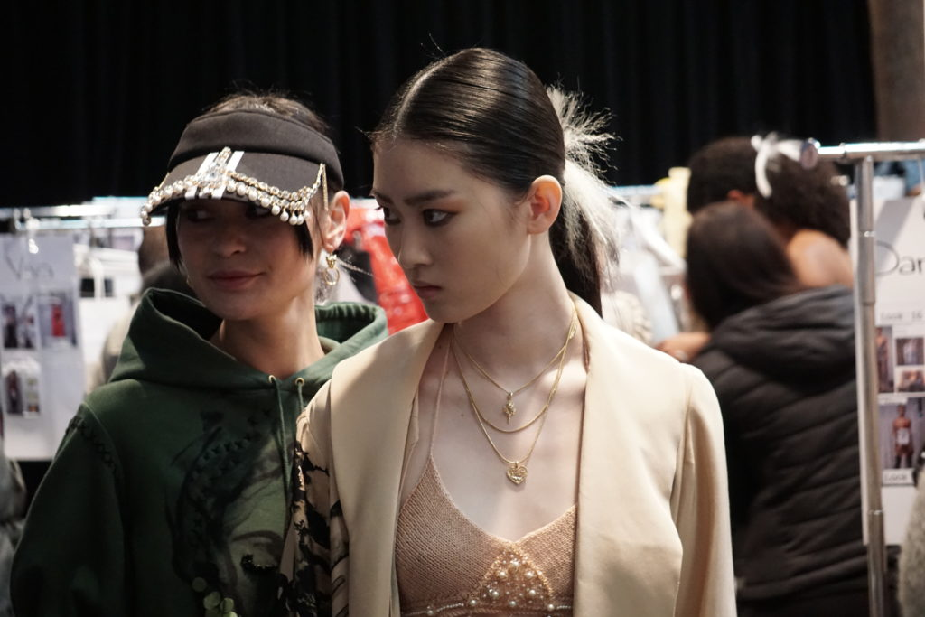 Backstage at Fashion Design Studio at Mercedes Benz Fashion Week in Sydney at Carriageworks 2018.
