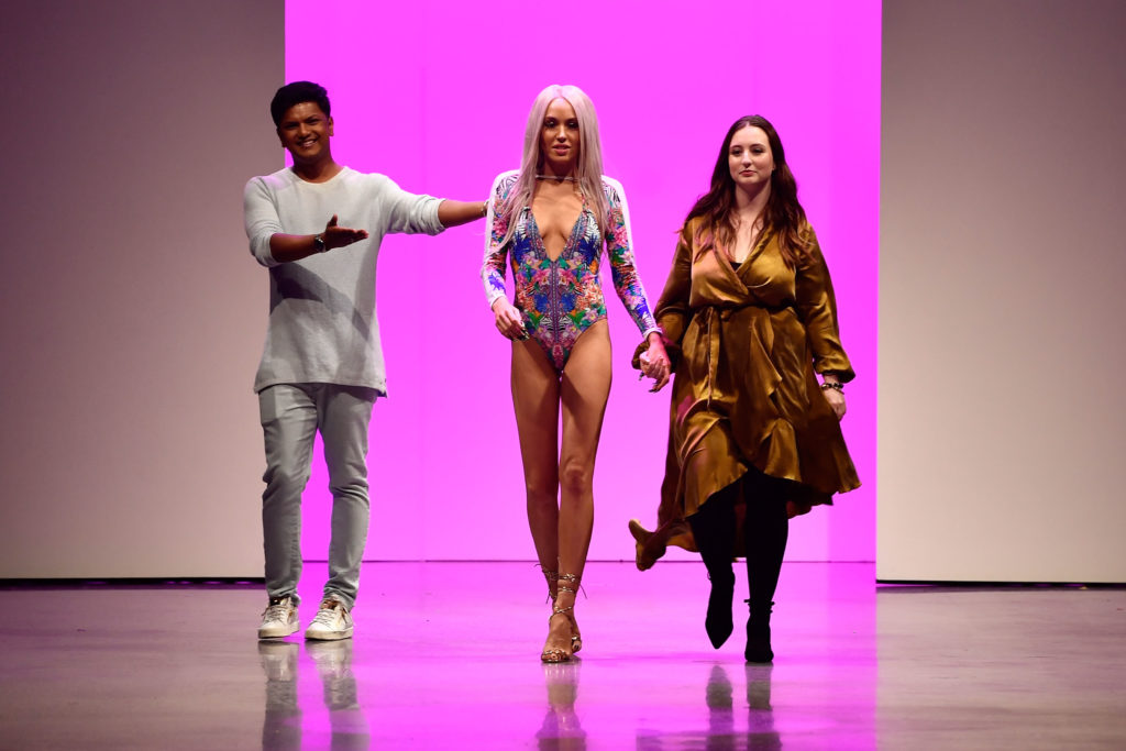 AUCKLAND, NEW ZEALAND - AUGUST 28: A model walks the runway in a design by Heaven Swimwear during the Swim and Activewear Collective show during New Zealand Fashion Week 2018 at Viaduct Events Centre on August 28, 2018 in Auckland, New Zealand. (Photo by Stefan Gosatti/Getty Images)