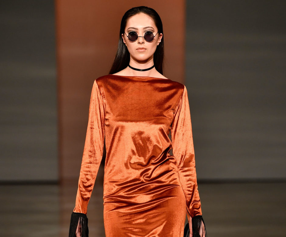 A model walks the runway in a design by Ruscoe during the New Generation Emerging Couture show during New Zealand Fashion Week 2018 at Viaduct Events Centre on August 28, 2018 in Auckland, New Zealand (Photo by Phil Walter/Getty Images)