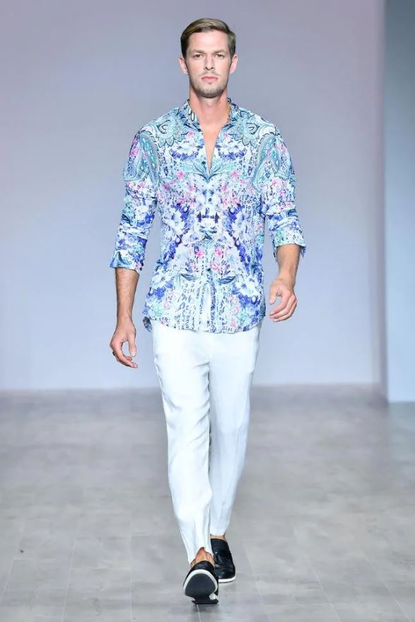 Babylon Unisex Shirt - ELYSIAN UNISEX BOMBER JACKET | Aqua Blu Runway at MBFWA in Sydney for Fashion Week
