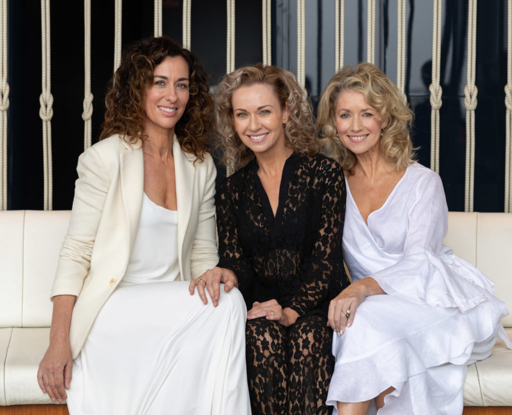 Rhoda Lucas, Kathryn Edmonds and Susie Parker at The Hyatt Regency, Sussex Street Sydney for the Ageless Shoot in October 2019.