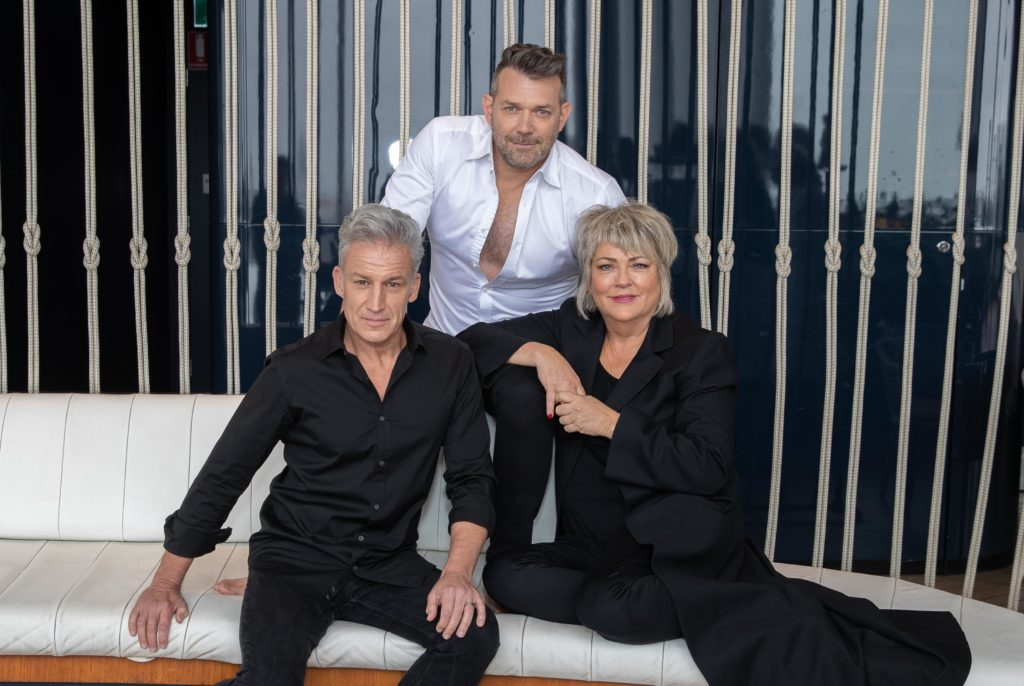 Martin, Nic Lucas, and Jean Laing from La Gaia Skincare at The Hyatt Regency, Sussex Street, Sydney for Ageless shoot in October 2019.